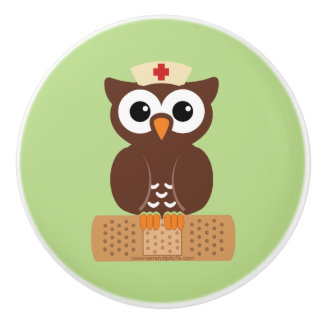 Nurse Owl (w/bandaid) Ceramic Knob