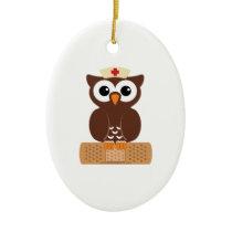 Nurse Owl (w/bandaid) Ceramic Ornament
