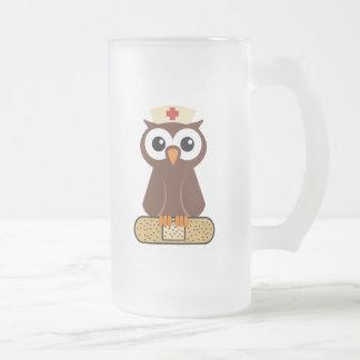Nurse Owl (w/bandaid) Frosted Glass Beer Mug