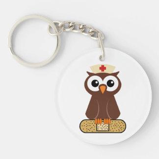 Nurse Owl (w/bandaid) Single-Sided Round Acrylic Keychain