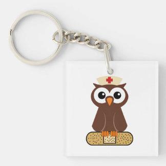 Nurse Owl (w/bandaid) Single-Sided Square Acrylic Keychain
