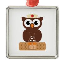 Nurse Owl (w/bandaid) Metal Ornament