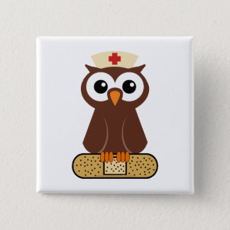 Nurse Owl (w/bandaid) Pinback Button