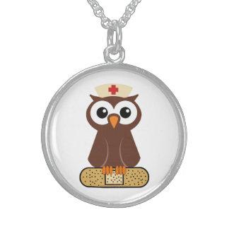 Nurse Owl (w/bandaid) Round Pendant Necklace