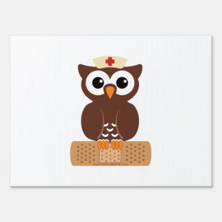 Nurse Owl (w/bandaid) Sign