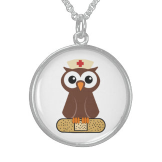 Nurse Owl (w/bandaid) Sterling Silver Necklace