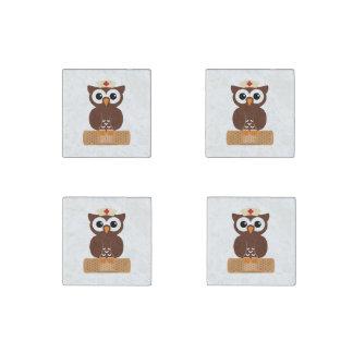 Nurse Owl (w/bandaid) Stone Magnet