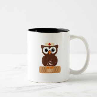 Nurse Owl (w/bandaid) Two-Tone Coffee Mug