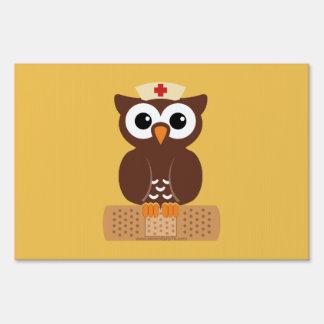 Nurse Owl (w/bandaid) Yard Sign