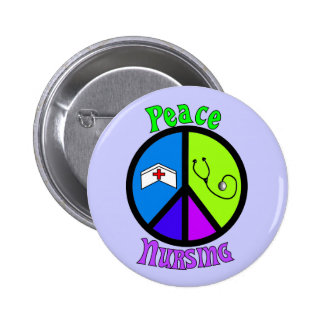 """Nurse """"Peace"""" Gifts For All Professionals Pinback Button"""