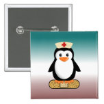 Nurse Penguin (w/bandaid) 2 Inch Square Button