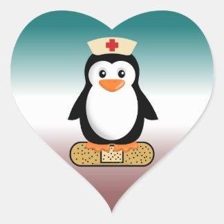 Nurse Penguin (w/bandaid) Heart Sticker