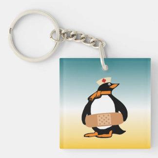 Nurse Penguin (w/bandaid) Single-Sided Square Acrylic Keychain