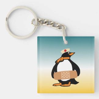 Nurse Penguin (w/bandaid) Double-Sided Square Acrylic Keychain