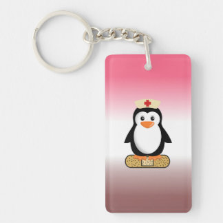 Nurse Penguin (w/bandaid) Single-Sided Rectangular Acrylic Keychain