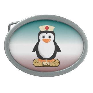 Nurse Penguin (w/bandaid) Oval Belt Buckle