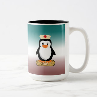 Nurse Penguin (w/bandaid) Two-Tone Coffee Mug