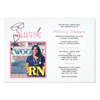 Nurse photo graduation pinning celebration / pink card