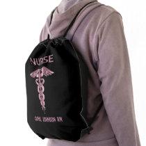 Nurse - Pink and Black Drawstring Bag