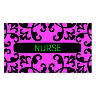 Nurse Pink Damask Business Card