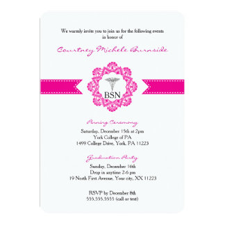 Nurse pinning ceremony or graduation party RN BSN 5x7 Paper Invitation Card