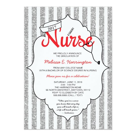 Nurse pinning, nurse party, RN graduation RED Invitation