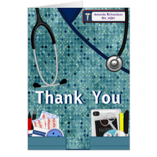 Nurse Pockets Thank You - Blue Stationery Note Card