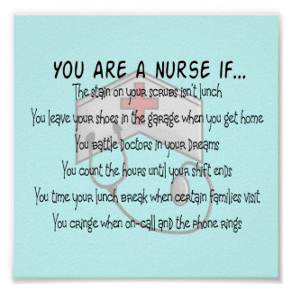 "Nurse Poster ""You Are a Nurse If"""