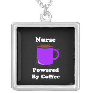 """""""Nurse"""" Powered by Coffee Square Pendant Necklace"""