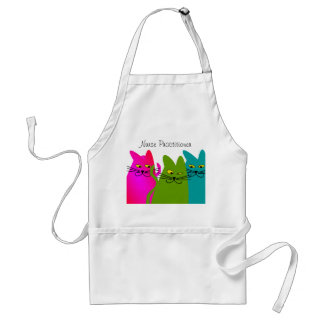 Nurse Practitioner Apron Whimsical Cats Design