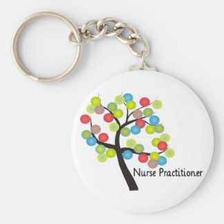 Nurse Practitioner Artsy Tree Design Gifts Basic Round Button Keychain