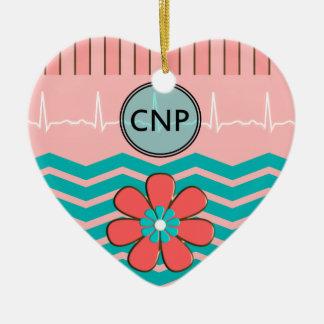 Nurse Practitioner Chevron Design Ceramic Ornament