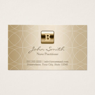 Nurse Practitioner Luxury Gold Monogram Business Card