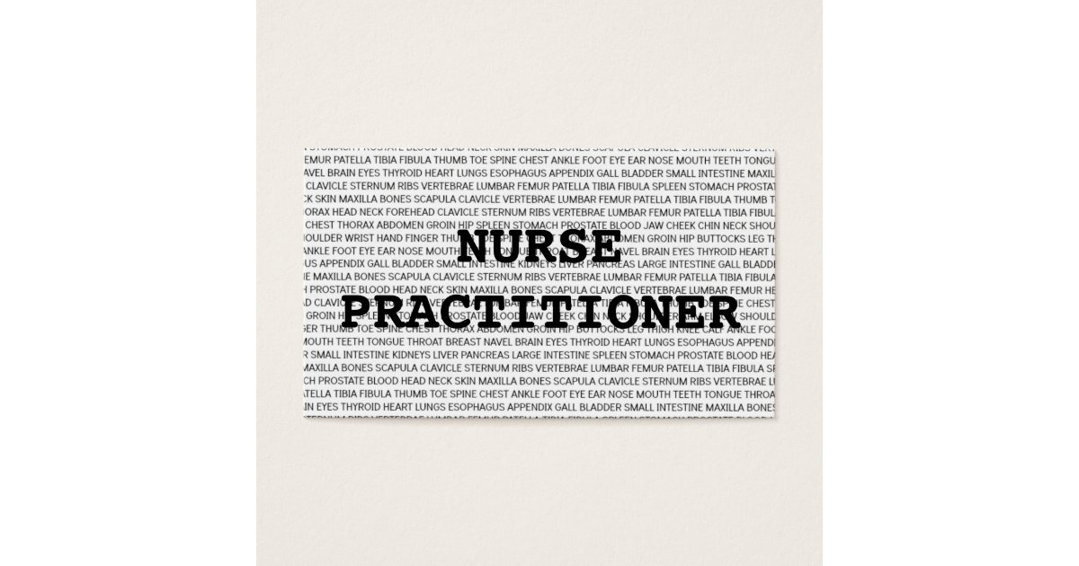 Nurse Practitioner Medical Words Business Card   Zazzle.com