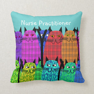 Nurse Practitioner Pillow Whimsical Cats