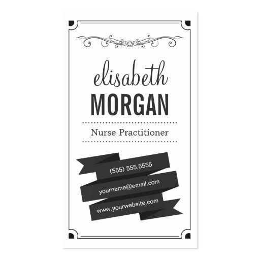Nurse Practitioner - Retro Black and White Business Cards