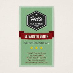 Nurse Practitioner - Vintage Retro Stylish Business Card at Zazzle