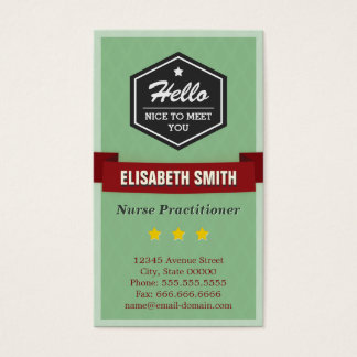 Nurse Practitioner - Vintage Retro Stylish Business Card