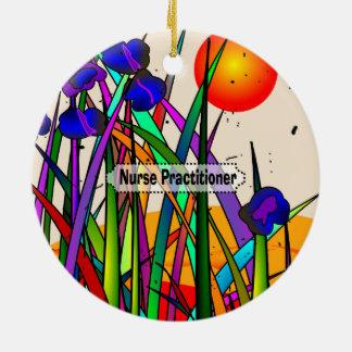 Nurse Practitioner Whimsical Flowers Ceramic Ornament