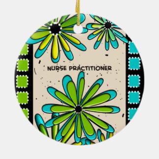 Nurse Practitioner Whimsical Flowers II Ceramic Ornament