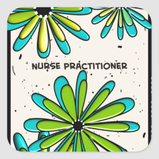 Nurse Practitioner Whimsical Flowers II Square Stickers