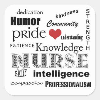 Nurse Pride Attributes-Black and White+Red Heart Square Sticker
