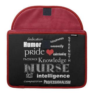 "Nurse Pride-Attributes/Black+Red+White Trim/13"" MacBook Pro Sleeves"