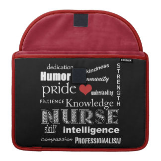 "Nurse Pride-Attributes/Black+Red+White Trim/13"" Sleeve For MacBook Pro"