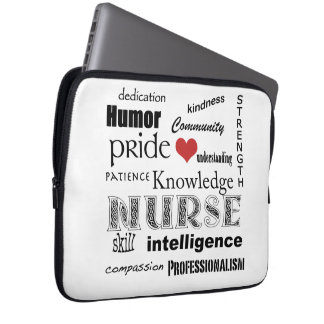 Nurse Pride-Attributes/Black+White-13 inch Computer Sleeve