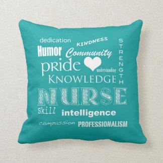 Nurse Pride-Attributes/Blue-Green Throw Pillow