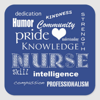 Nurse Pride Attributes-Blueberry Square Sticker