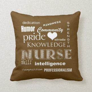 Nurse Pride Attributes-Chocolate Brown Pillows