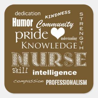 Nurse Pride Attributes-Chocolate Brown Square Sticker