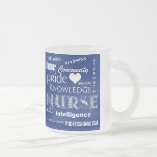 Nurse Pride-Attributes/Dark Blue Frosted Glass Coffee Mug